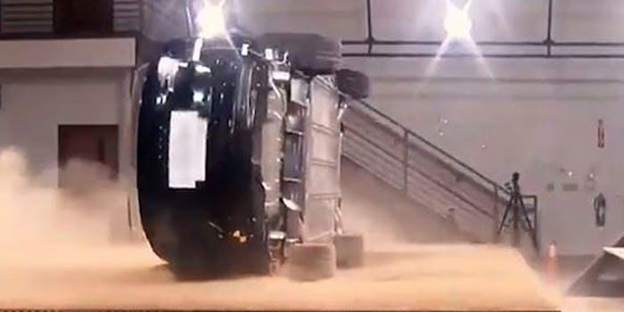 tesla model x crash rollover test internal video