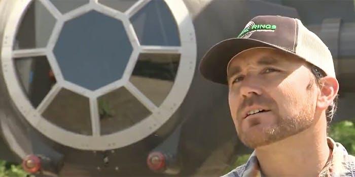 California almond farmer Erich Gemperle built a 14-foot Star Wars TIE fighter replica.