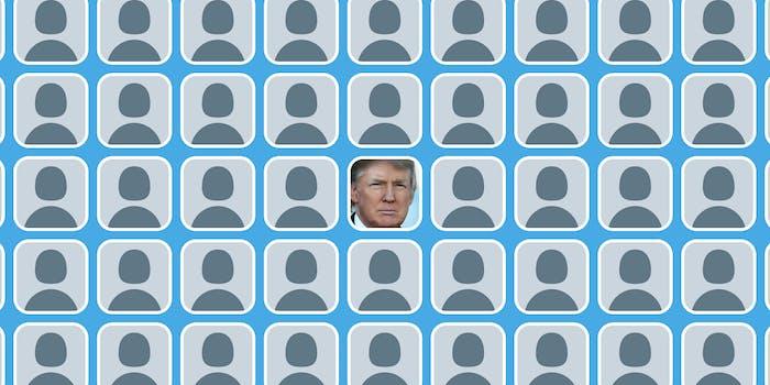 Donald Trump Twitter avatar amid default Twitter avatars
