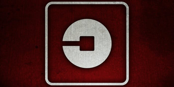 Uber logo over red texture