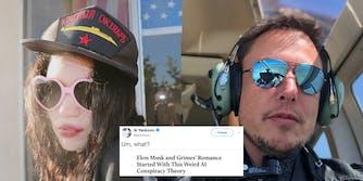 Grimes and Elon Musk with Al Yankovic tweet