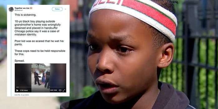 A 10-year-old boy was handcuffed and questioned by police who said his description fit that of a person of interest.