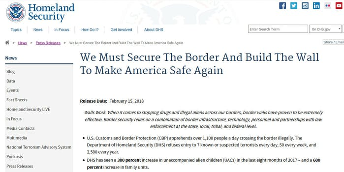 Social media users are accusing a months-old press release from the Department of Homeland Security (DHS) of mimicking a slogan used by neo-Nazis.
