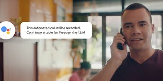 Google Duplex AI chat bubble with man on phone