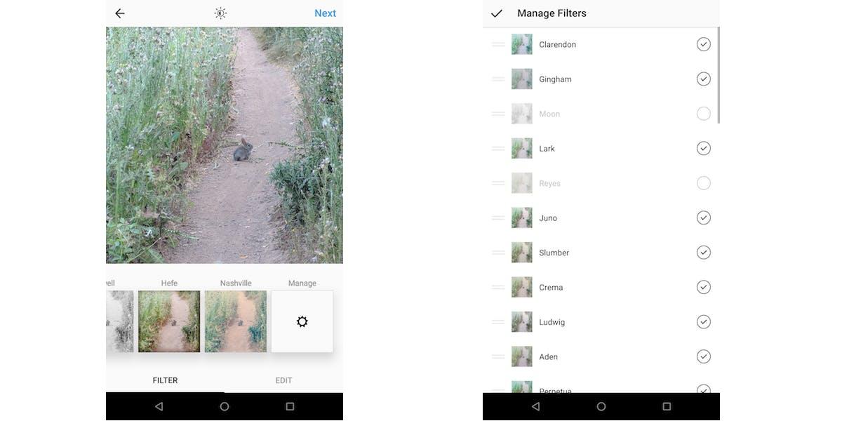 hidden instagram features : Instagram filters management