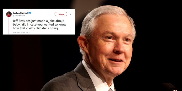 Attorney General Jeff Sessions was blasted online after he joked about people who disagree with President Donald Trump administration's policy of separating undocumented immigrant children from their families.