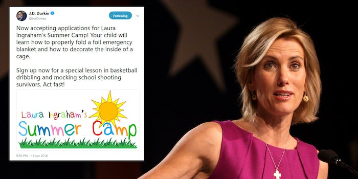 Fox News pundit Laura Ingraham weighed into the debate about undocumented children being separated from their parents at facilities along the border by comparing the detention centers to 'summer camps.'