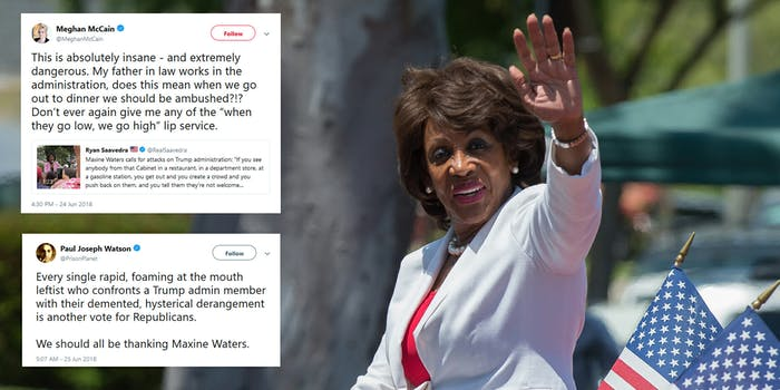 Rep. Maxine Waters (D-Calif.) sparked outrage among conservatives online after she called on supporters to continue confronting members of President Donald Trump's administration in public places.