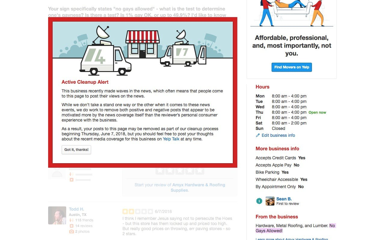 The Amyx Hardware Yelp page under review.