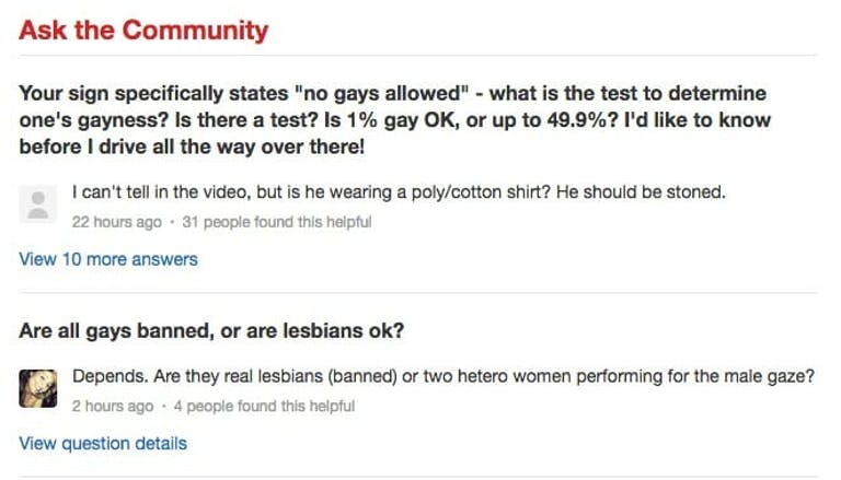 A Yelp review of Amyx Hardware for its homophobic signage.