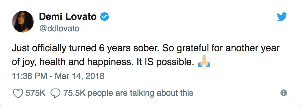 Demi lovato tweets about 6 years of sobriety