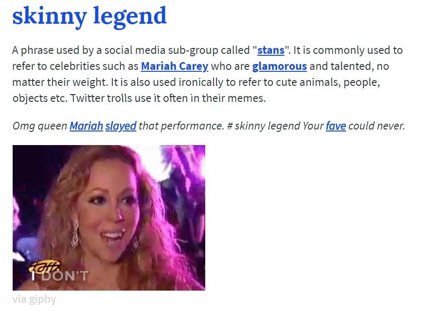 skinny legend definition