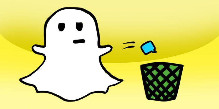 Snapchat ghost throwing away message.