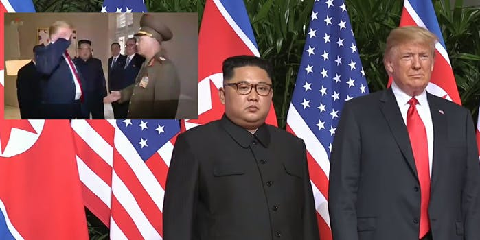 President Donald Trump appears to salute a North Korean general in footage released by the country's state-run television.