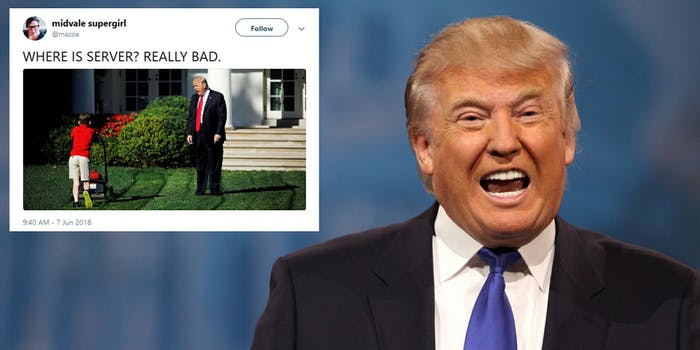 President Donald Trump asked why the Justice Department was not investigating the Democratic National Committee (DNC) server on Thursday morning, riling up some of his supporters but also drawing an immense amount of jokes for his poor grammar.
