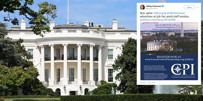 The White House has had a much-publicized high turn over rate since President Donald Trump took office–and now there is a job fair happening to try and find some new talent to bring on board.
