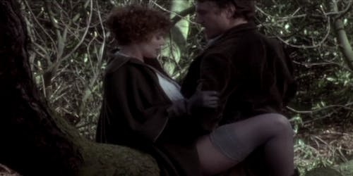 A man and a woman caress seductively outside in an amazon prime porn scene from Lady Chatterley's Lover
