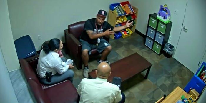 Marjorie Stoneman Douglas school guard Andrew Medina talks to detectives.