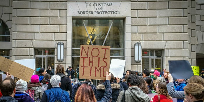 People protesting a U.S. Customs and Border Protection office.