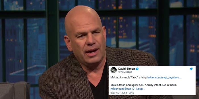 David Simon says he was banned from Twitter.