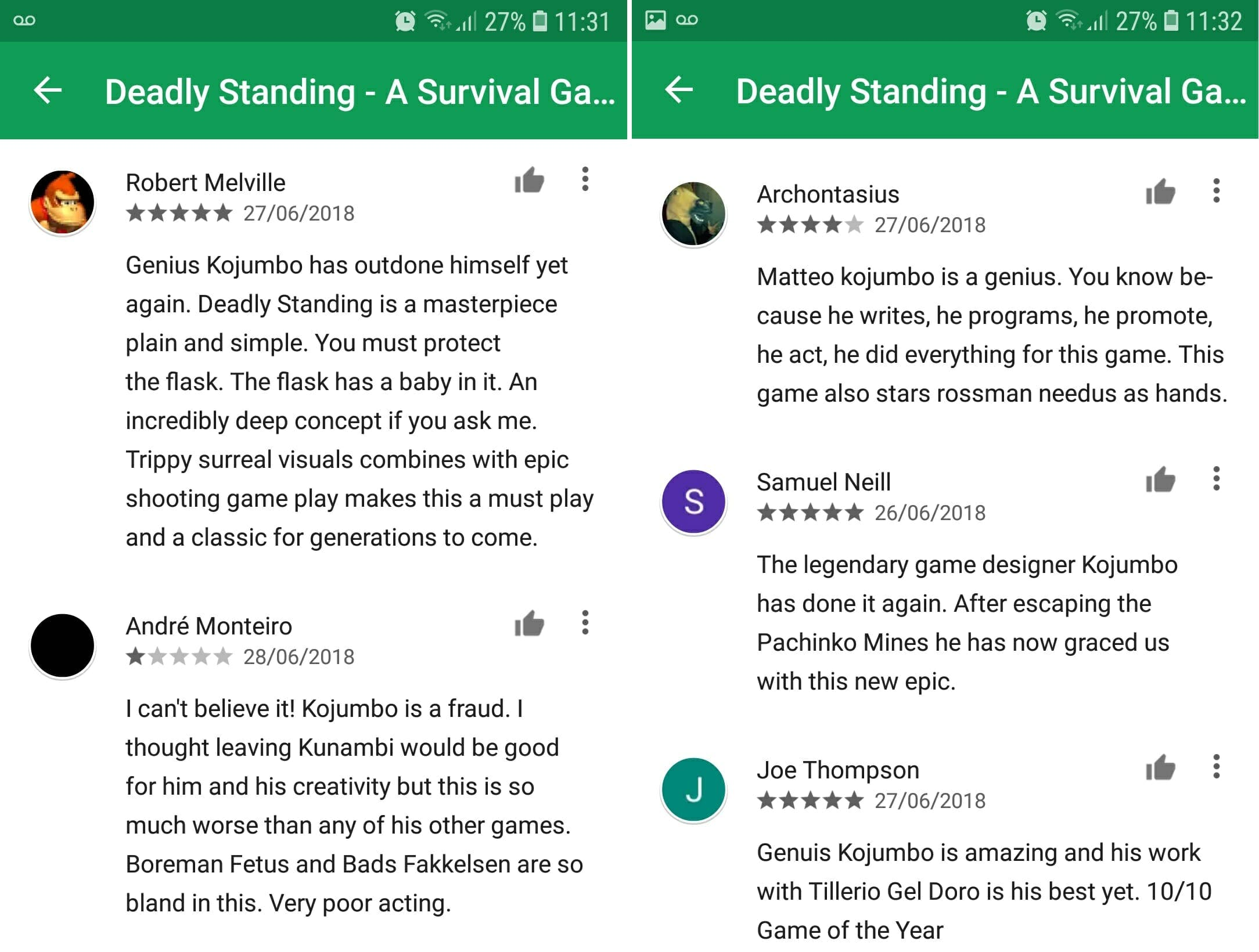deadly standing reviews