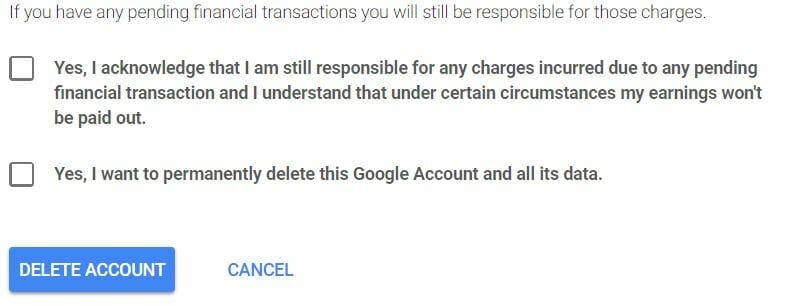how to delete gmail account - google delete account terms