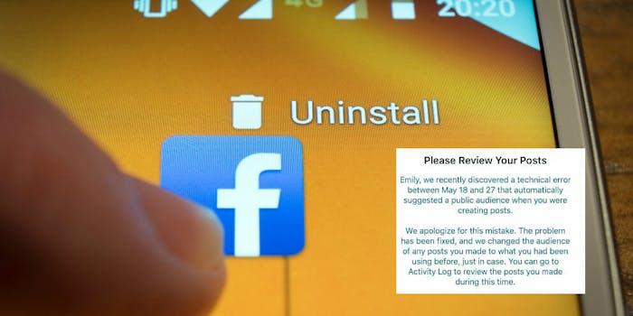 facebook social media uninstall posts public 14 million users