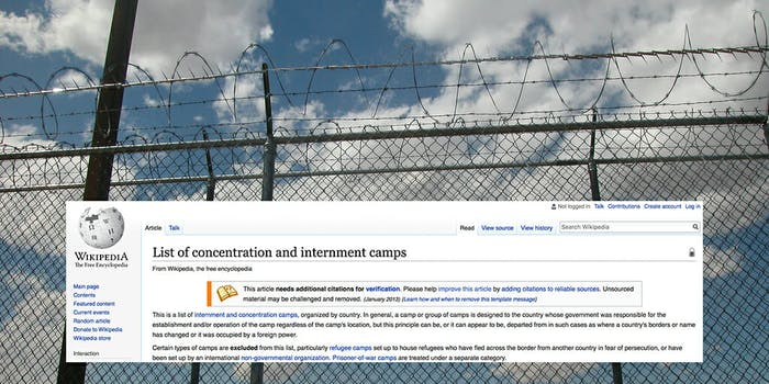 Child immigrant detention centers have now been added to Wikipedia's list of concentration and internment camps.