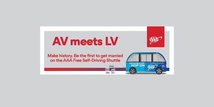 AAA driverless shuttle wedding promotion