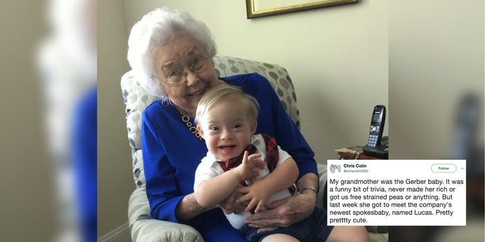 The original Gerber Baby Ann Turner Cook with the new spokesbaby, Lucas.