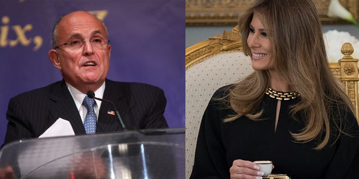 Melania Trump's spokesperson said the first lady has not spoken with Rudy Giuliani—about anything.