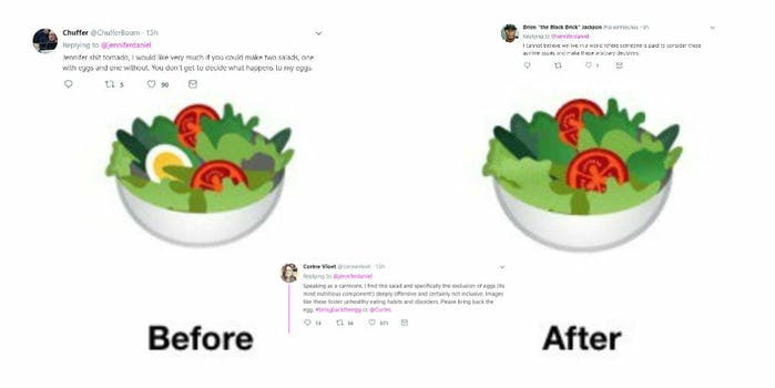 google android p vegan salad no egg