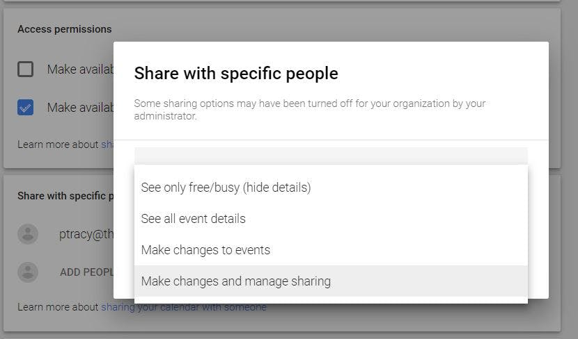how to share a google calendar - sharing permissions