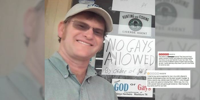 The owner of Amyx Hardware in East Tennessee smiles with his shop's 'No Gays Allowed' sign along negative Yelp reviews from the LGBTQ community and allies.