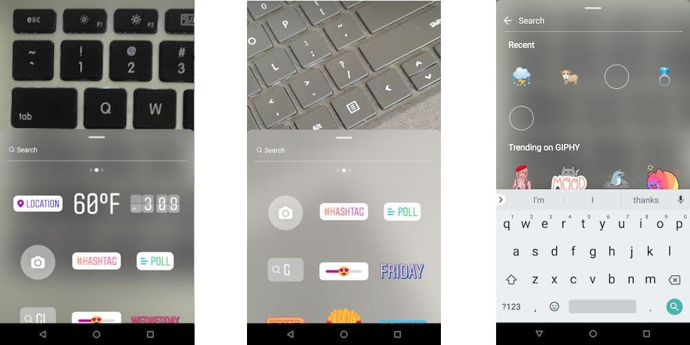 Instagram Stickers menu