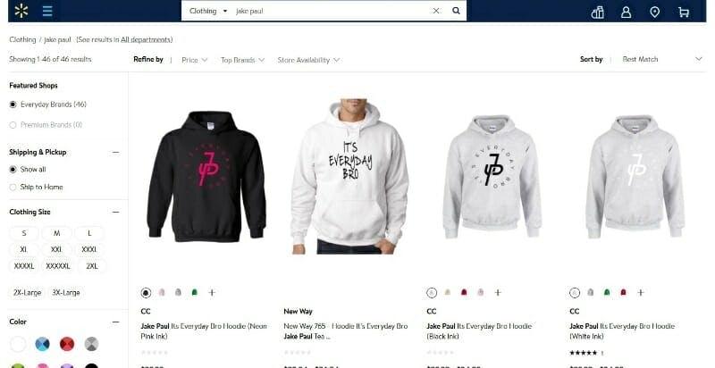 Jake Paul Walmart merchandise