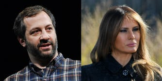 Side-by-side of Judd Apatow and Melania Trump