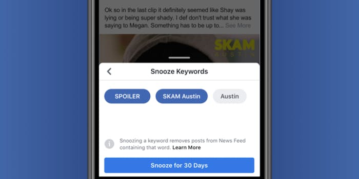Keyword snooze on a phone