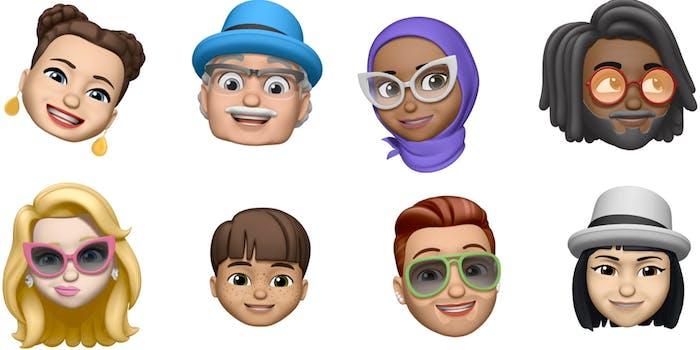 Eight Memoji characters