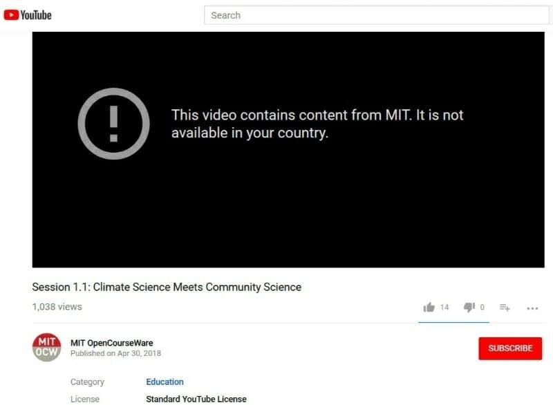 MIT OpenCourseWare blocked YouTube