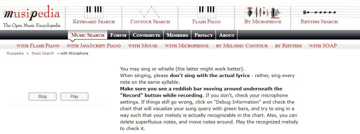 musipedia song recognition app whistle hum sing