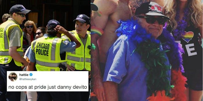 No cops at pride meme showing police versus Danny DeVito.
