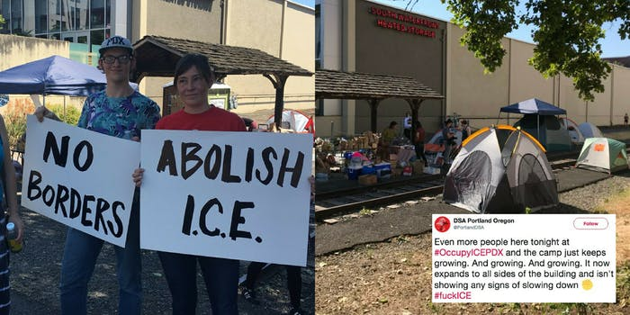 Protesters camp outside of a ICE agency building in Portland, Oregon.