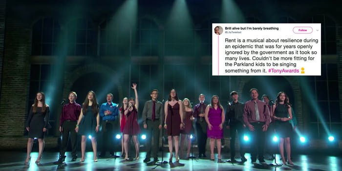 The drama club student survivors of the Parkland, Florida, perform 'Seasons of Love' at the Tony Awards.