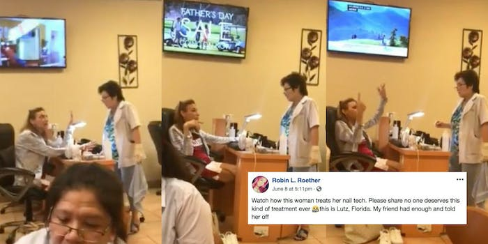A woman goes off on a racist rant at her nail technician at Bali Nail Spa in Lutz, Florida.