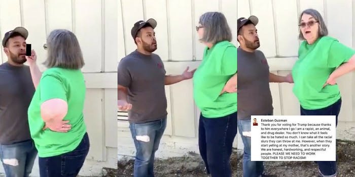 A white woman gives a Mexican landscaper the middle finger before calling him a rapist and drug dealer.