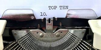 Top Ten list on typewriter