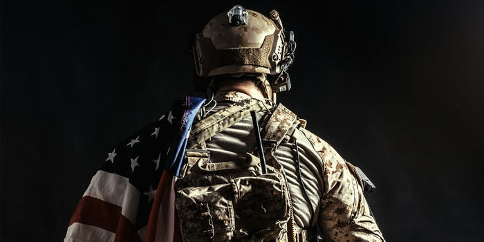 soldier with american flag