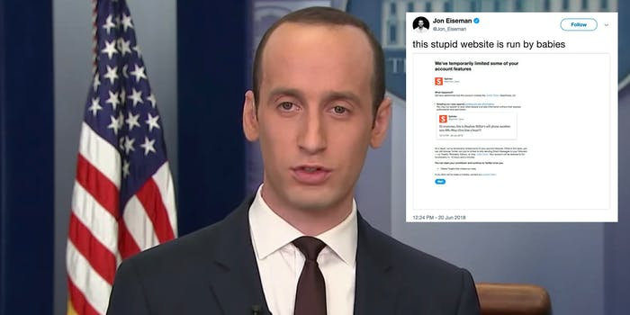 Twitter blocked users for sharing a news article with Stephen Miller's phone number.