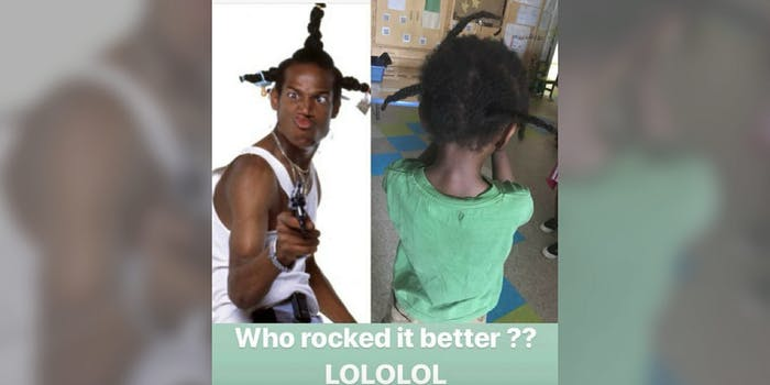 An Instagram stories post comparing a Black child's hair to that of a Marlon Wayans character.